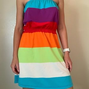 Rainbow multi-color strapless dress